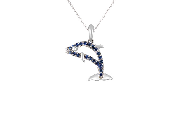 DCJC-15SAW   14K WHITE GOLD 15MM DOLPHIN PENDANT, W/DIAMOND .01ct, 21 BLUE SAPPHIRES .19ct