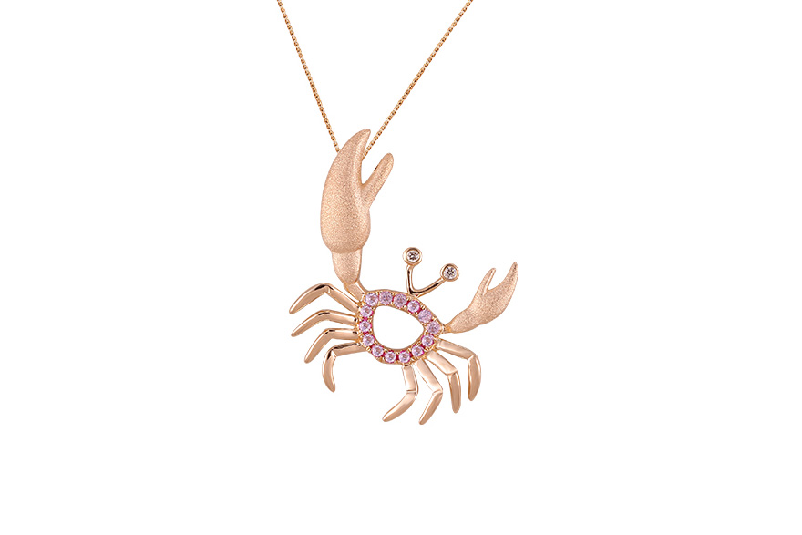 UCC-20PSAP  14K ROSE GOLD CRAB PENDANT, W/2 DIAMONDS .01ct, 14 PINK SAPPHIRES .13ct