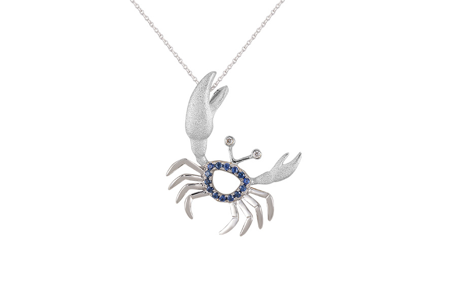 UCC-20SAW   14KW CRAB PENDANT, W/2 DIAMONDS .01ct, 14 BLUE SAPPHIRES .13ct