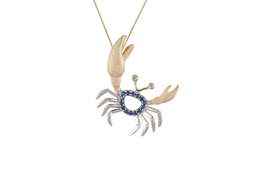 UCC-20SAX  14K 2/TONE(Y/G & W/G) CRAB PENDANT, W/2 DIAMONDS .01ct, 14 BLUE SAPPHIRES .13ct