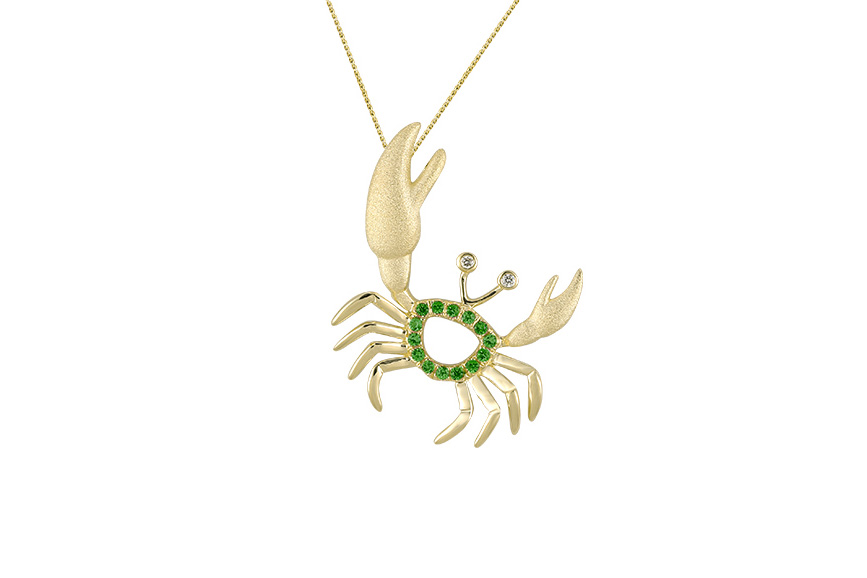 UCC-20TS   14KY CRAB PENDANT, W/2 DIAMONDS .01ct, 14 TSAVORITE .13ct