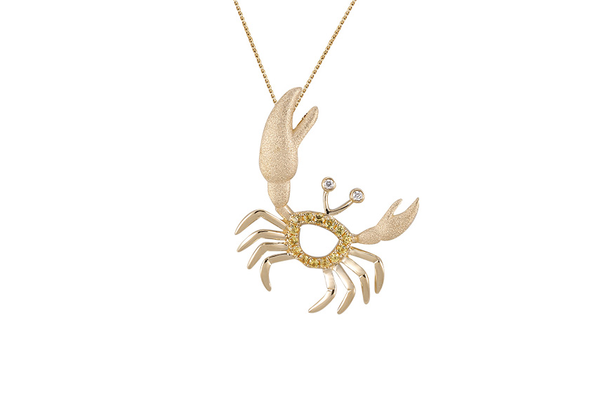 UCC-20YSA   14KY CRAB PENDANT, W/2 DIAMONDS .01ct, 14 YELLOW SAPPHIRES .14ct