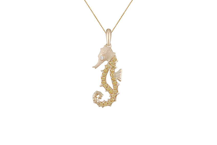 UCSH-18YSA   14KY SINGLE SEA HORSE PENDANT WITH DIAMOND .01ct, 22 YELLOW SAPPHIRES .22ct