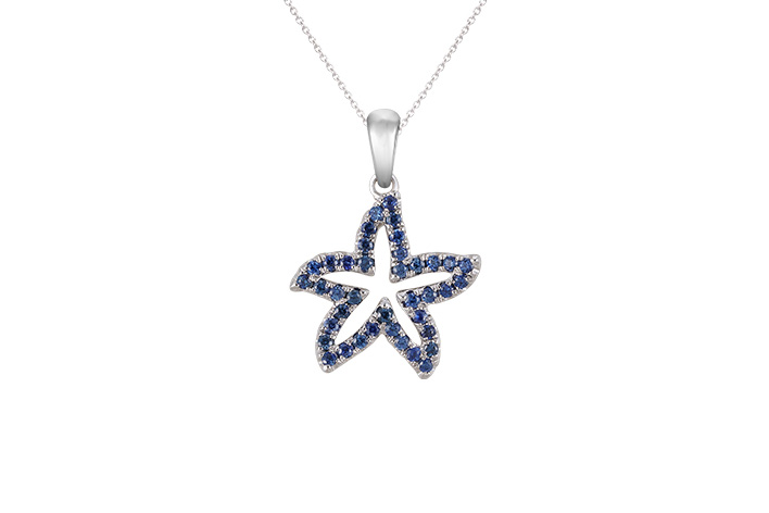 UCSS-15SAW   14K WHITE GOLD 15MM SEA STAR PENDANT, W/39 BLUE SAPPHIRES .37ct