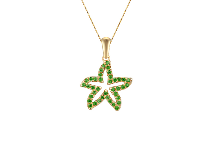 UCSS-15TS   14K YELLOW GOLD 15MM SEA STAR PENDANT, W/39 TSAVORITE .37ct