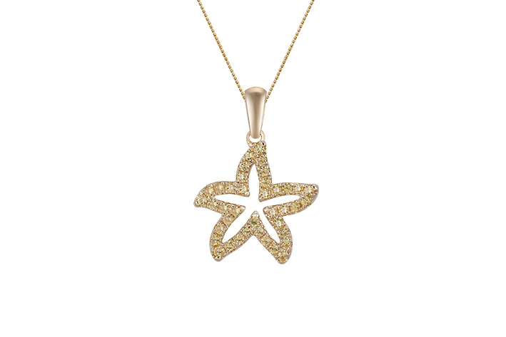 UCSS-15YSA   14K YELLOW GOLD 15MM SEA STAR PENDANT, W/39 YELLOW SAPPHIRES .38ct