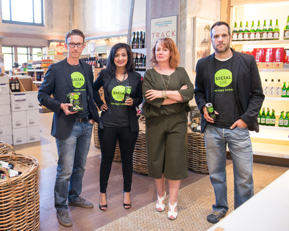 Arlene Dickinson makes an appearance with Dan, Kevin and Neetu from SoCIAL LITE Vodka at the LCBO's Summerhill location