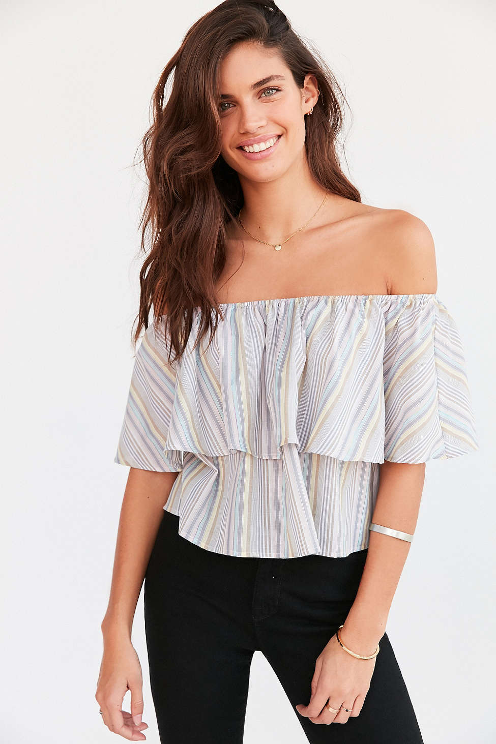 Urban Outfitter's Raquel Ruffle Stripe Off-The-Shoulder Blouse ($24.99)