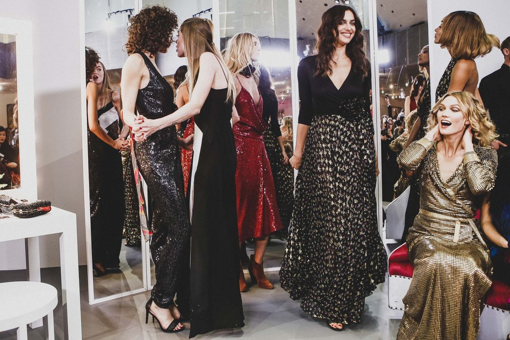 Supermodels Irina Shayk and Karlie Kloss flaunting their DVF frocks; image  via