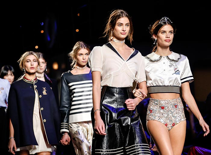 From L to R: Hailey Baldwin, Stella Maxwell, Taylor Hill and Sara Sampaio close the show; image via
