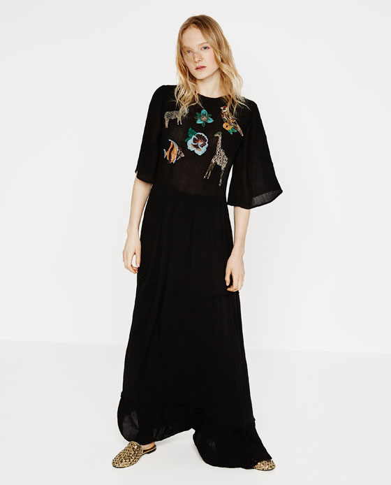 "Zara's  ""Animal Embroidered Long Dress"" for  $99.90"