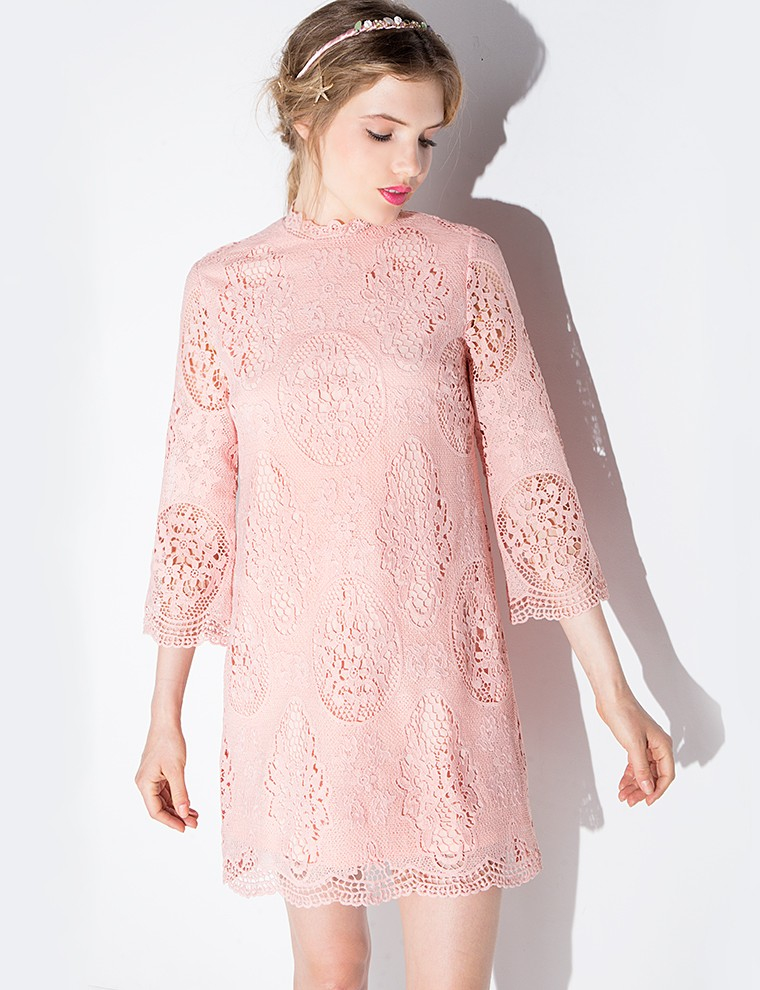 """Blush Lace Scalloped Dress,"" $99; image via"