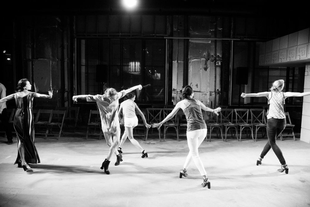 Dancers from the NYC Ballet rehearsing for the show; image  via