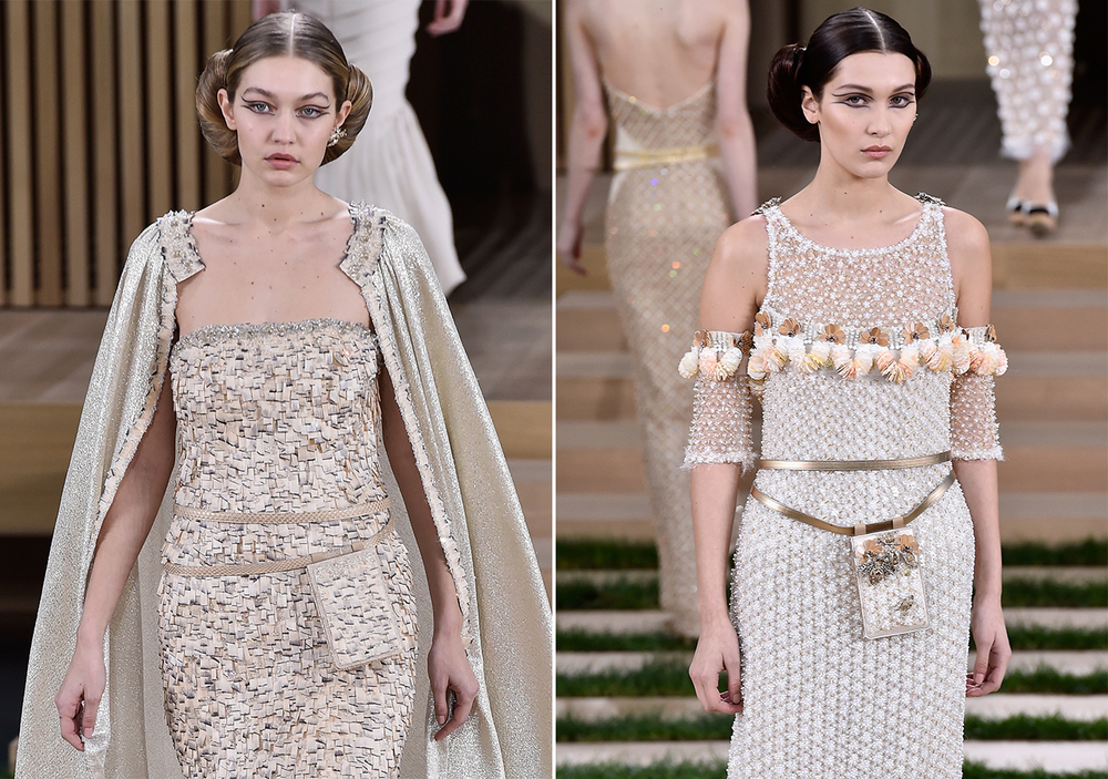 The Hadid sisters on the Chanel runway; image  via