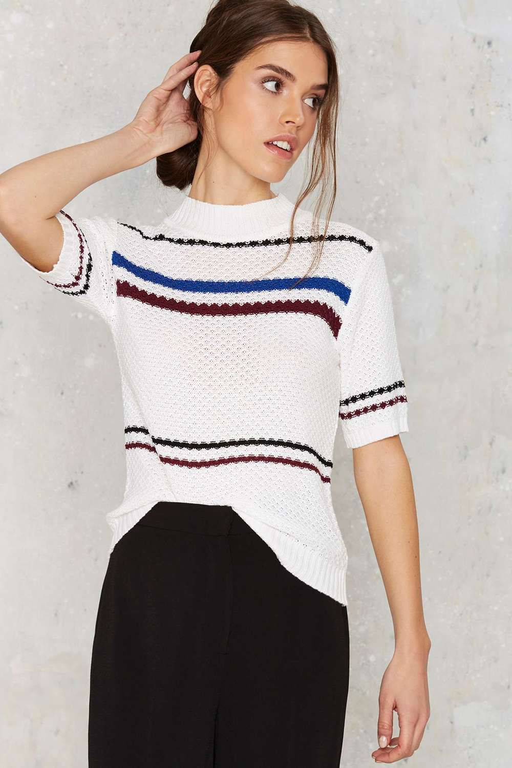 NastyGal School of Mock Striped Sweater; $34.80; image via