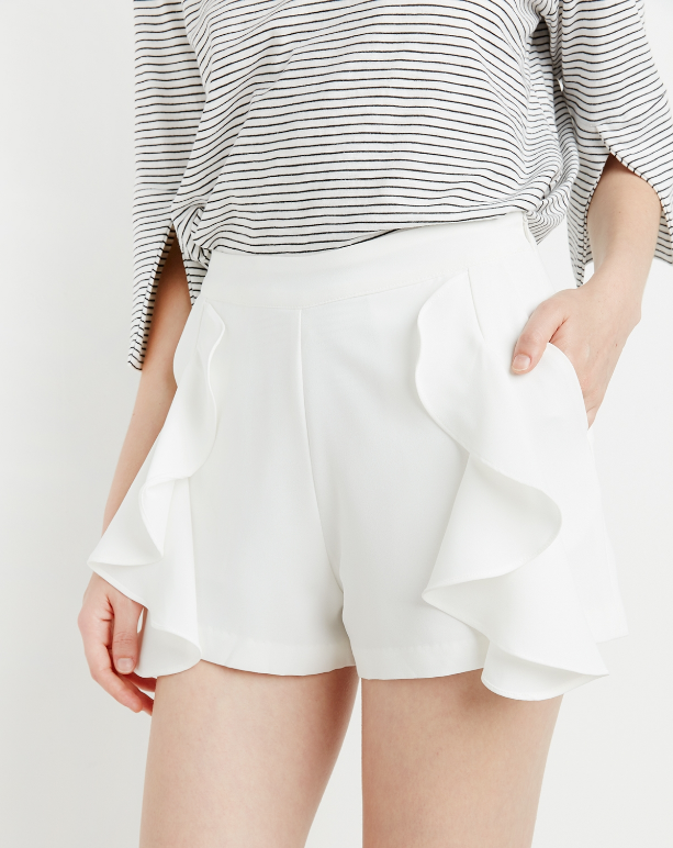 Pixie Market White Ruffled Shorts $42; image via