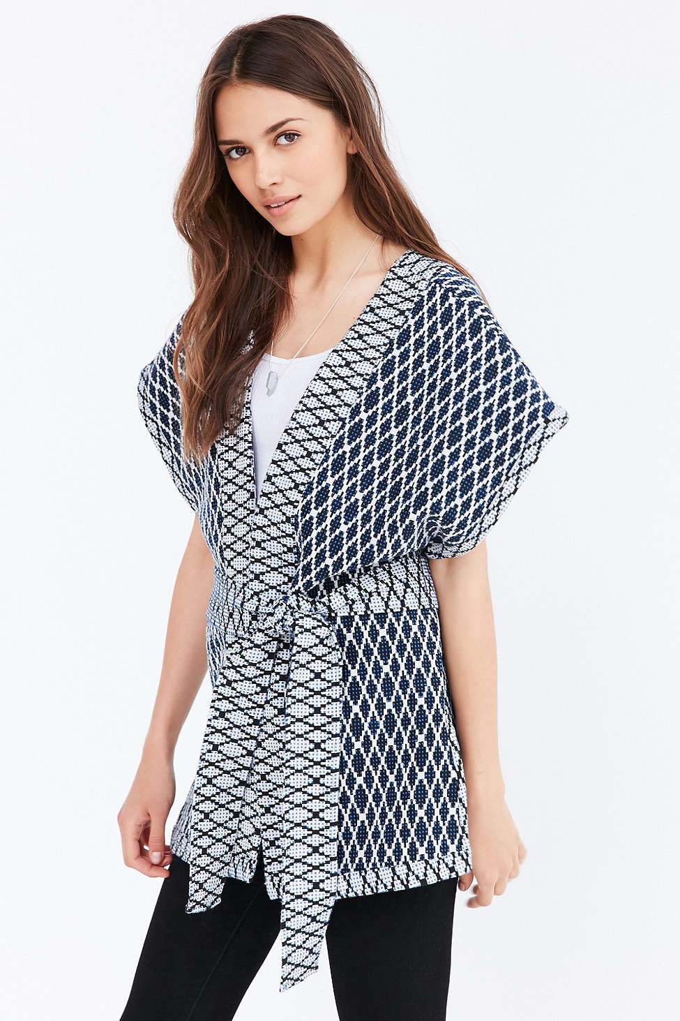 Urban Outfitters Ecote Quilted Seed Stitch Kimono $89; image via