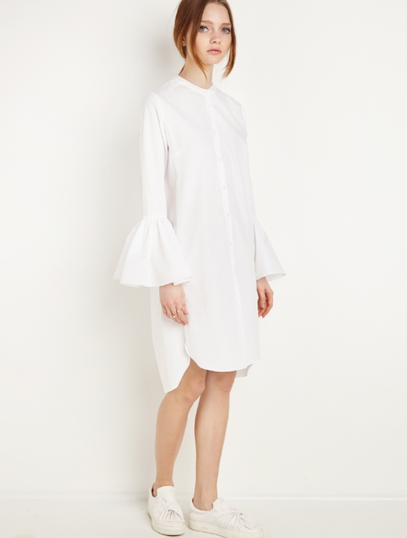 Pixie Market White Bell Sleeve Shirt Dress  $97 ; image  via