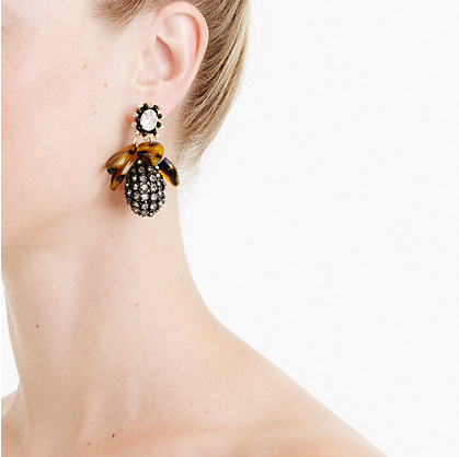 J.Crew Pave drop earrings with tortoise $59.99; image via