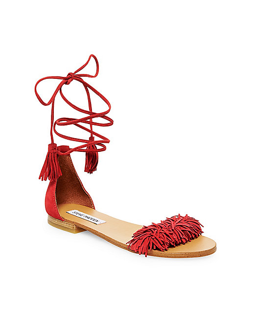 "Steve Madden ""Sweetyy"" Fringe Flat Sandals in Suede $79.95; image via"