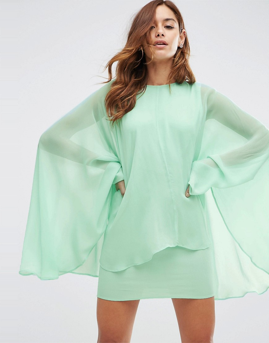 Asos Soft Chiffon Cape Mini Dress  $68 ; image  via