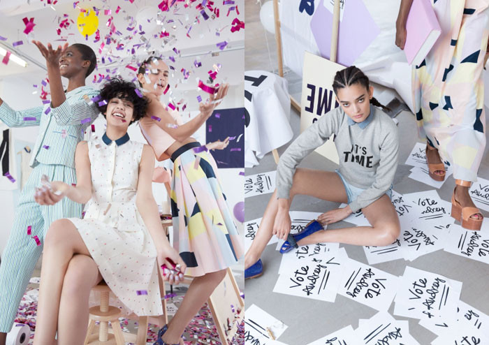 Stills from the brand's collaboration with designer Rachel Antonoff; image  via