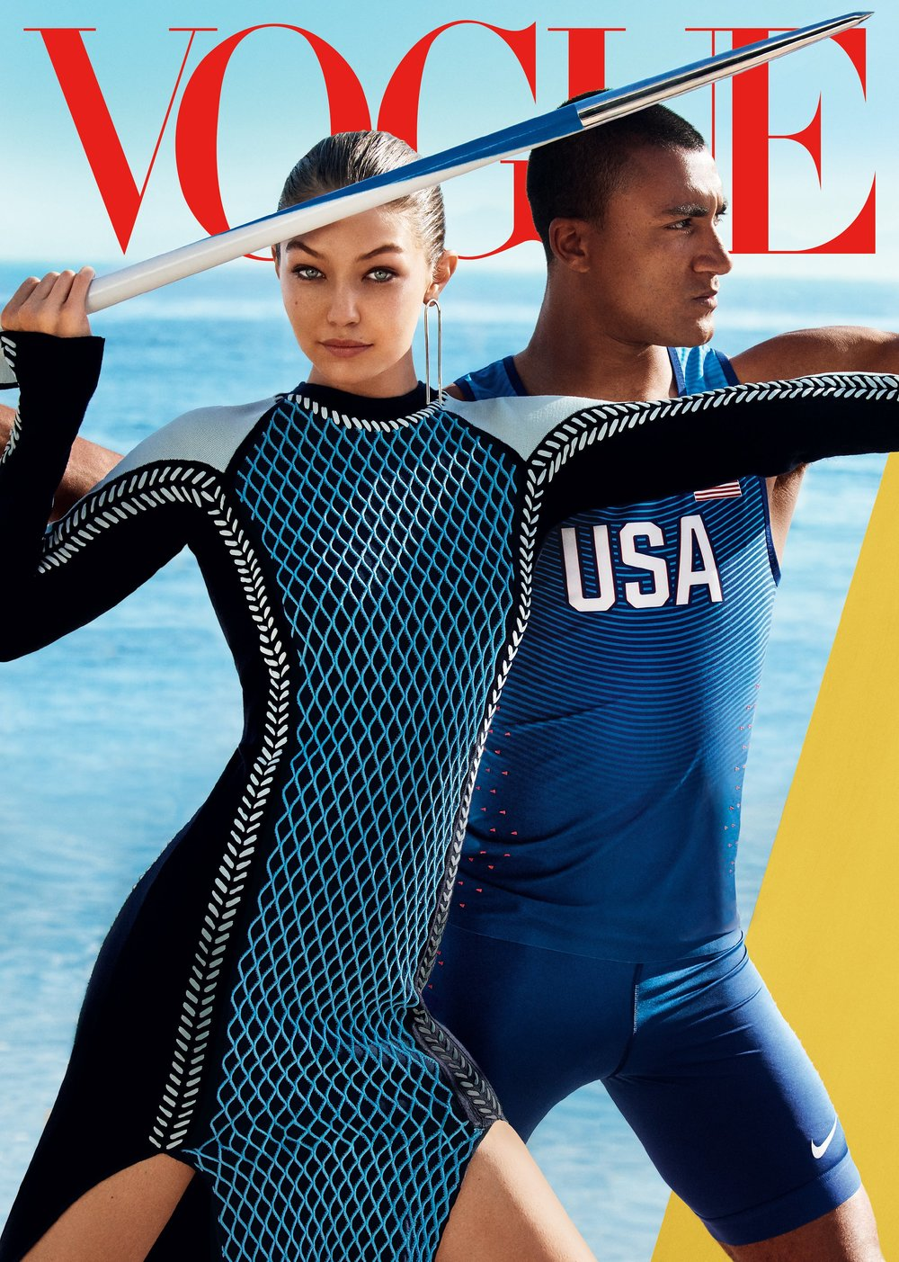 Gigi with Olympian Ashton Eaton for Vogue US