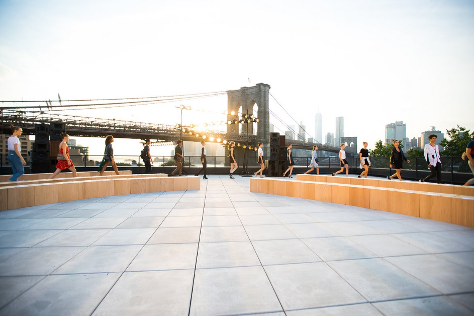 Models rehearshing for Thakoon's see now, buy now collection in Brookyn's Dumbo neighborhood;image  via