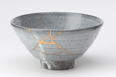 """Kintsugi, or kintsukuroi, is a Japanese method for repairing broken ceramics with a special lacquer mixed with gold, silver, or platinum."