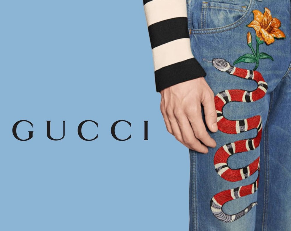 Gucci F/W16 embroidered jeans. Image  via .