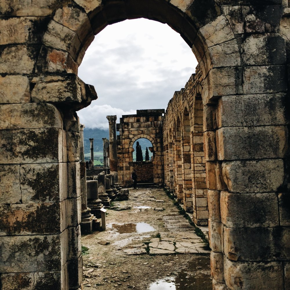 Roman ruins in the town of Volubilis which marked the western extent of the Roman empire in N. Africa.