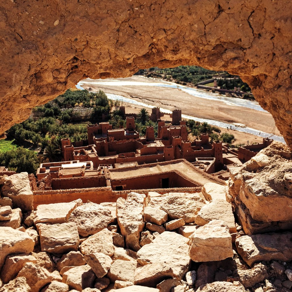 Views overlooking Ait Ben Haddou, a UNESCO village along the caravan routes between the Sahara and Marrakech.