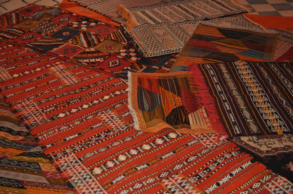 Traditional Berber rugs made of wool and silk. The Berbers are a pre-Arab ethnic group of N. Africa.