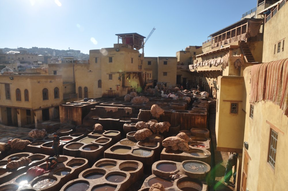 Fes is known for its artisanal goods, including leatherwork. Here the skins are treated and set to dry in the sun before being dyed and cut.