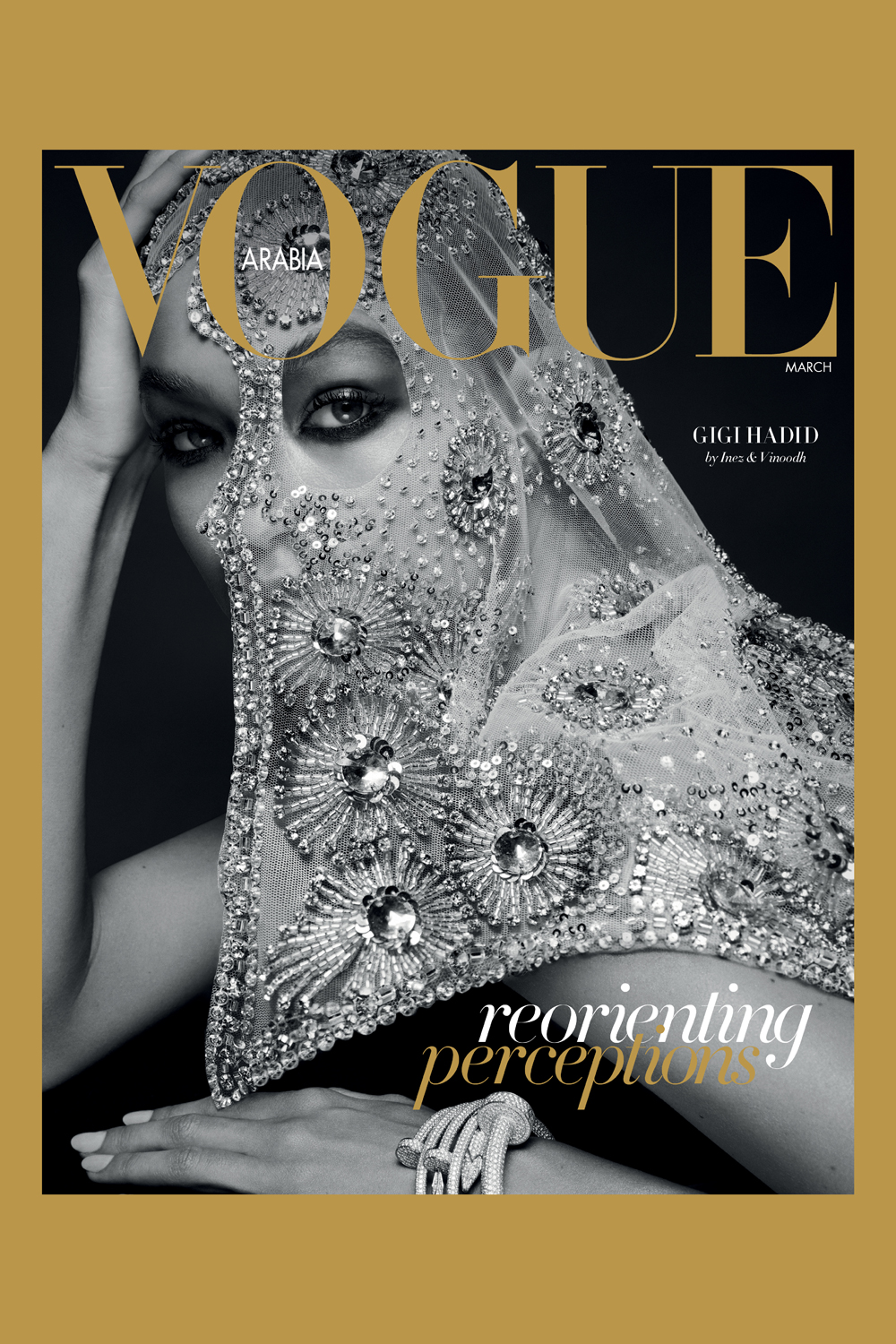 Hadid's second of two Vogue Arabia covers; image via