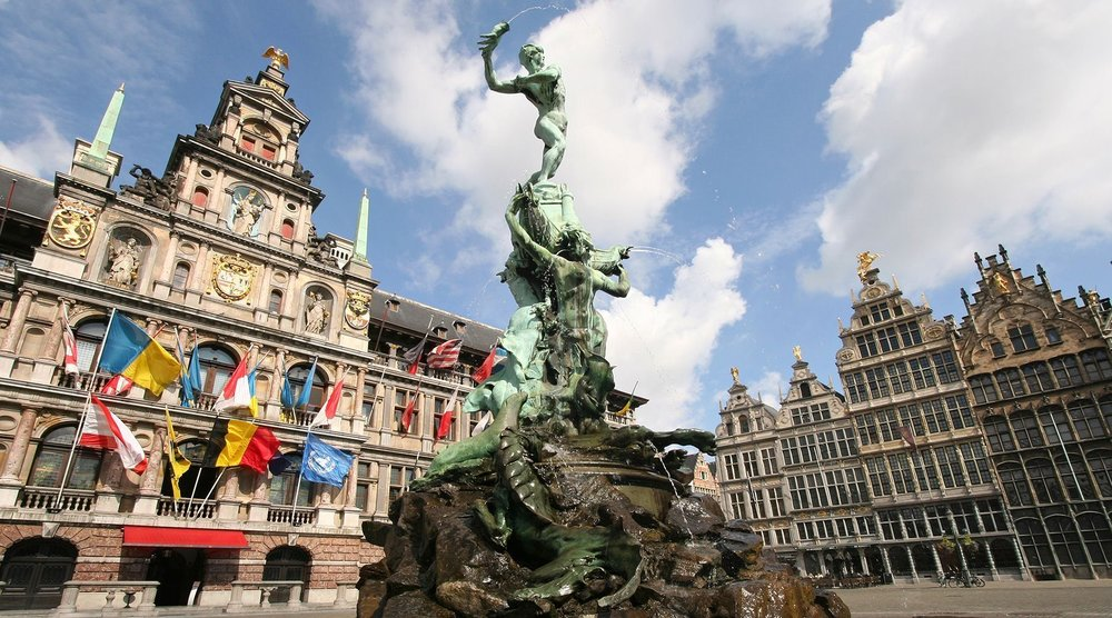 One of Antwerp's central squares; image via