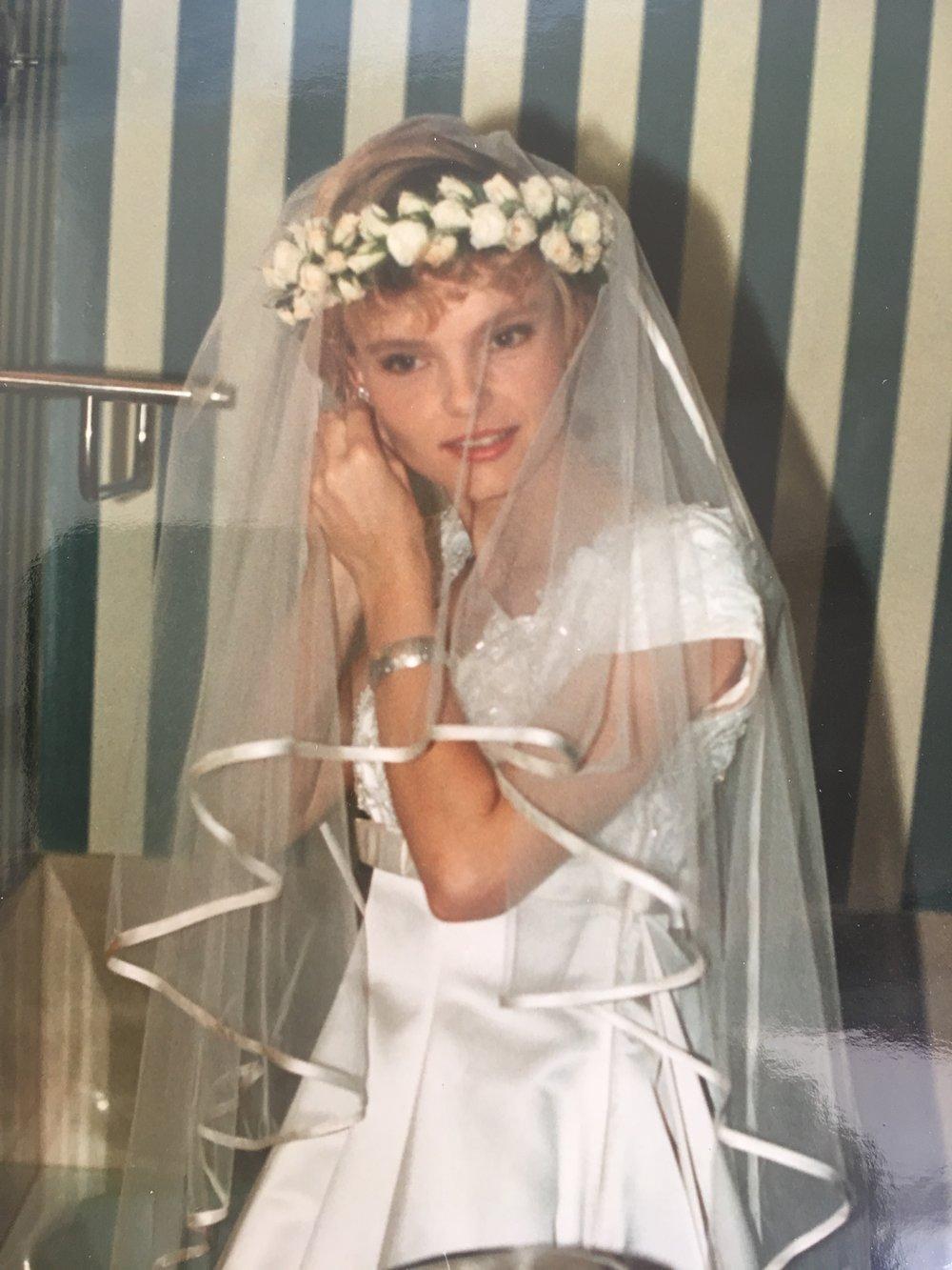My mum on her wedding day, wearing Babunia's bracelet.