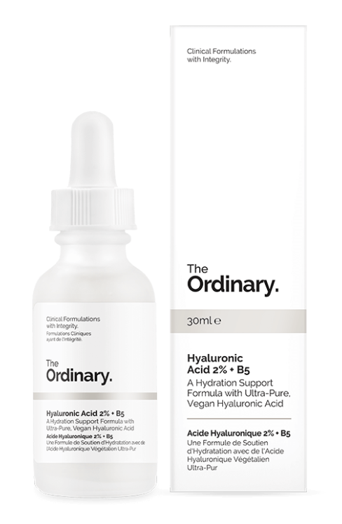 hyaluronic acid 2% + B5 - a godsend of hydration, and commonly found in most marketed moisturizers, this product is the good stuff - and only the good stuff! Check it out here.