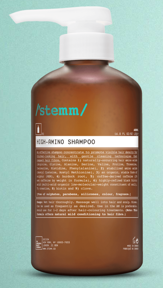 high-amino shampoo - An effective shampoo concentrate to promote visible hair density for thicker-looking hair, with gentle cleaning technologies that respect hair fibre.Check it out here.