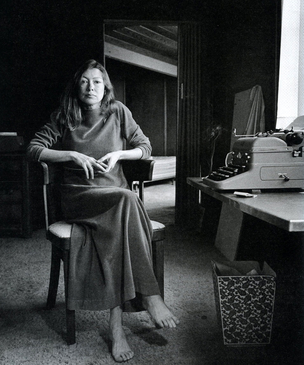 Didion in her office.   Image via Bust.