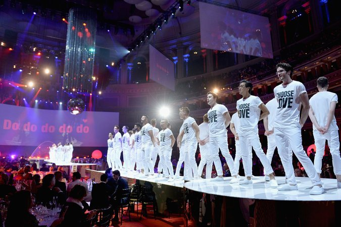 The London Gay Men's Chorus performing at the Fashion Awards sporting Katharine Hamnett T Shirts | Image  Via