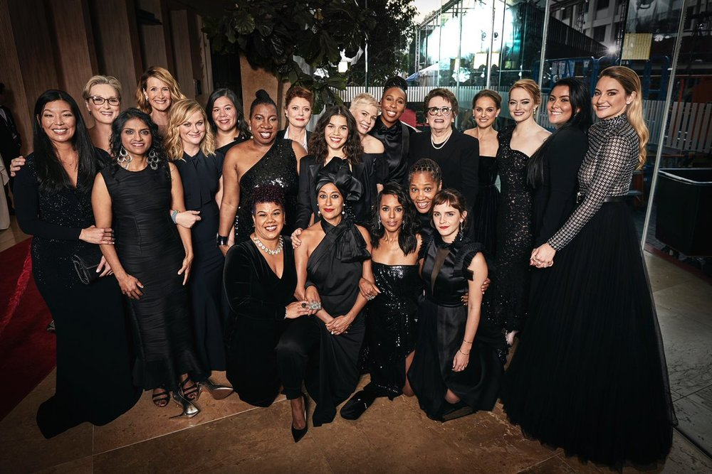 Women at the Golden Globes pictured in symbolic black gowns | Image  Via