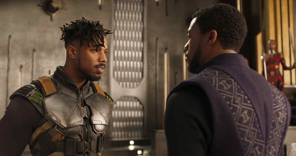 Michael B. Jordan and Chadwick Boseman in Black Panther.   Image via  here