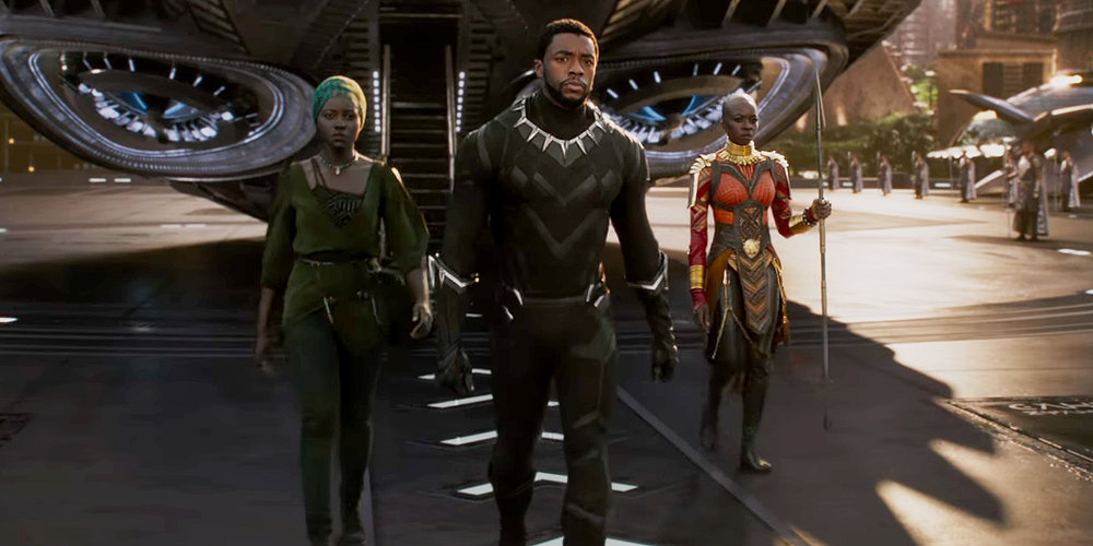 Lupita Nyong'o, Chadwick Boseman, and Danai Gurira in Black Panther.  Image via  here