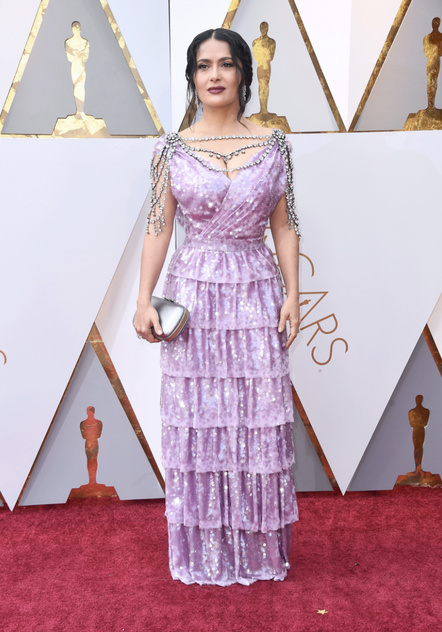 Salma Hayek in custom Gucci | Image  Via
