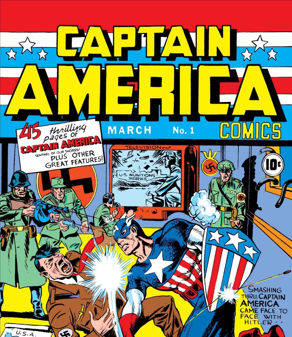 Captain America's debut cover featured him punching Hitler in the face.  Image    via