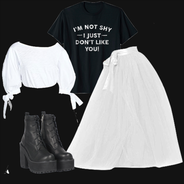 Steamer Tees I'm Not Shy I Just Don't Like You T Shirt- Introverts Funny in Black $19.99 www.amazon.com  Lisong Women Floor Length Bowknot Tulle Party Evening Skirt in White $40 www.amazon.com  UNIF Choke Boot $172 www.unifclothing.com  Cinq a Sept Tous Les Jours Daise Top in White $125 www.shopbop.com