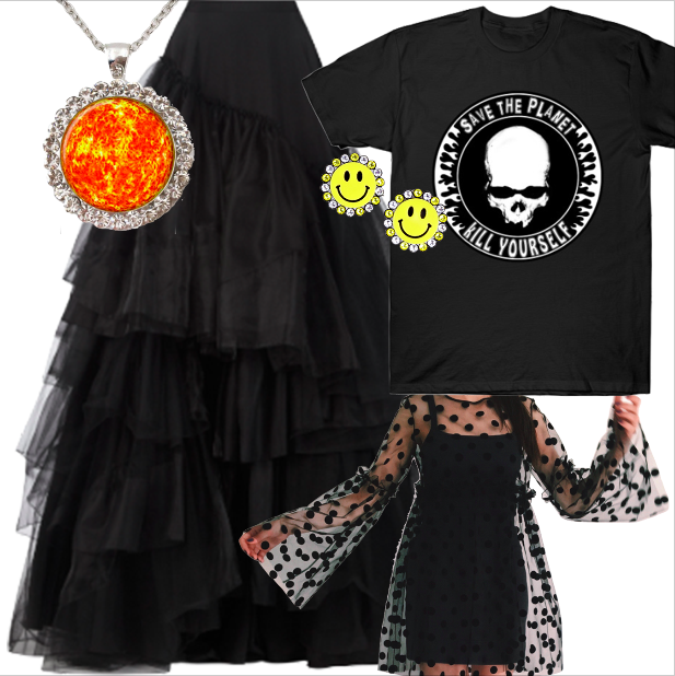 ChrisRolling Save the planet kill yourself T-Shirt $14 www.teepublic.com  katringloss Tulle dress, overdress, black mesh dress, beach dress, polka dot dress, coverup, sheer dress, formal summer dress, oversize dress, transparent $59 www.etsy.com   Burberry Big Black Tulle Skirt $4,150 www.modaoperandi.com   AliExpress SUN Pendant $5.99 www.aliexpress.com  Coco and Duckie Put on a Happy Face Earrings $66 https://cocoandduckie.com