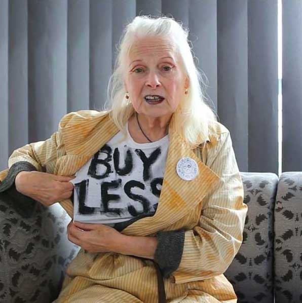 "Vivienne Westwood, whose brand has been fur-free since 2017, donning a T-shirt from her collection titled ""Climate Revolution."" Source  via ."