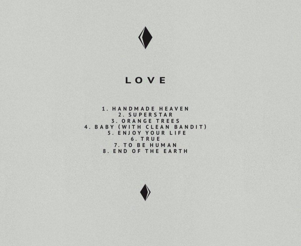 Love 's track list; image  via